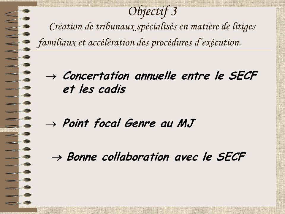 Objectif 3 Création de tribunaux spécialisés en matière de litiges familiaux et accélération des procédures dexécution.