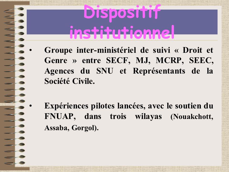 Dispositif institutionnel Groupe inter-ministériel de suivi « Droit et Genre » entre SECF, MJ, MCRP, SEEC, Agences du SNU et Représentants de la Société Civile.