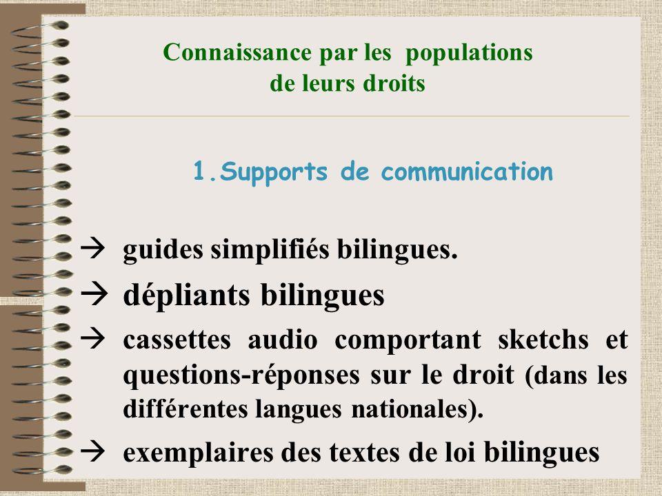 Connaissance par les populations de leurs droits 1.Supports de communication guides simplifiés bilingues.