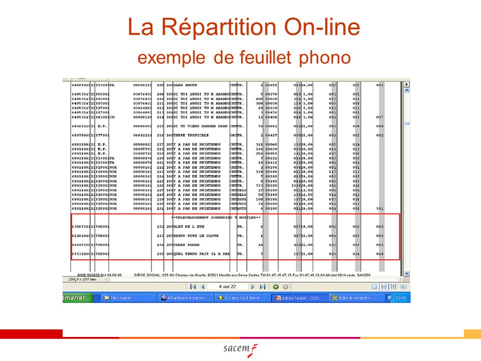 La Répartition On-line exemple de feuillet phono