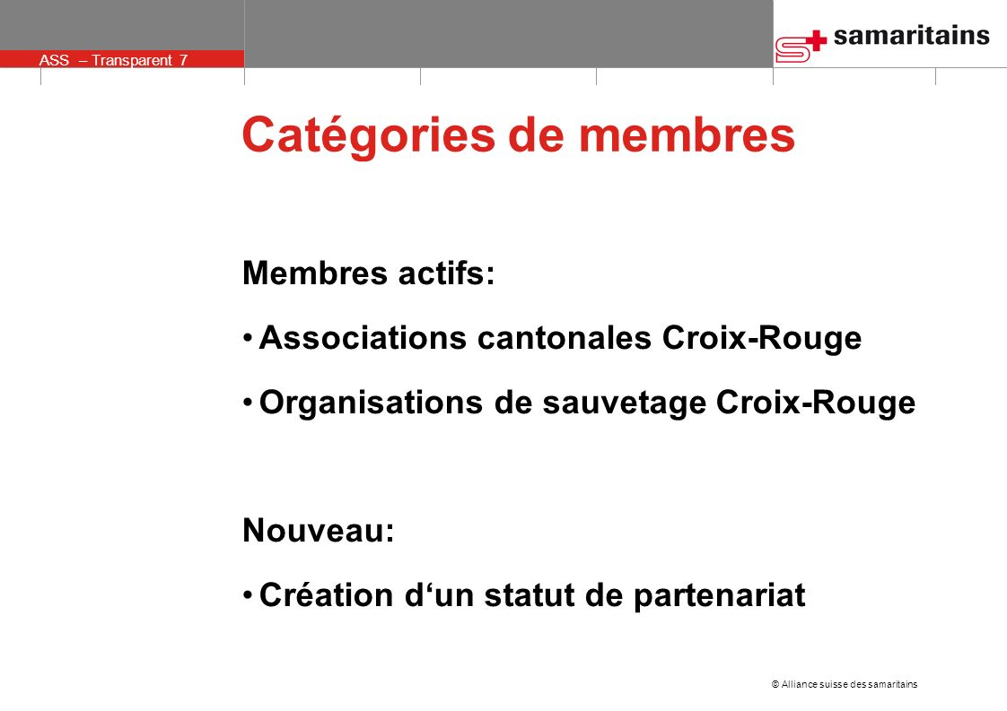 © Alliance suisse des samaritains ASS – Transparent 7 Catégories de membres Membres actifs: Associations cantonales Croix-Rouge Organisations de sauvetage Croix-Rouge Nouveau: Création dun statut de partenariat
