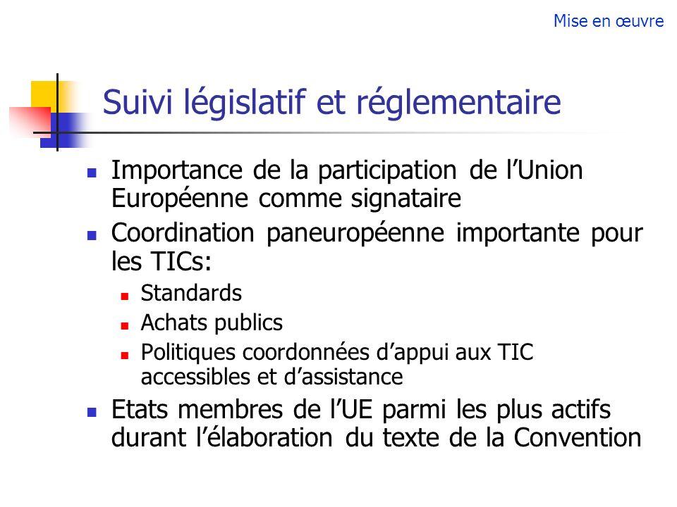 Suivi législatif et réglementaire Importance de la participation de lUnion Européenne comme signataire Coordination paneuropéenne importante pour les