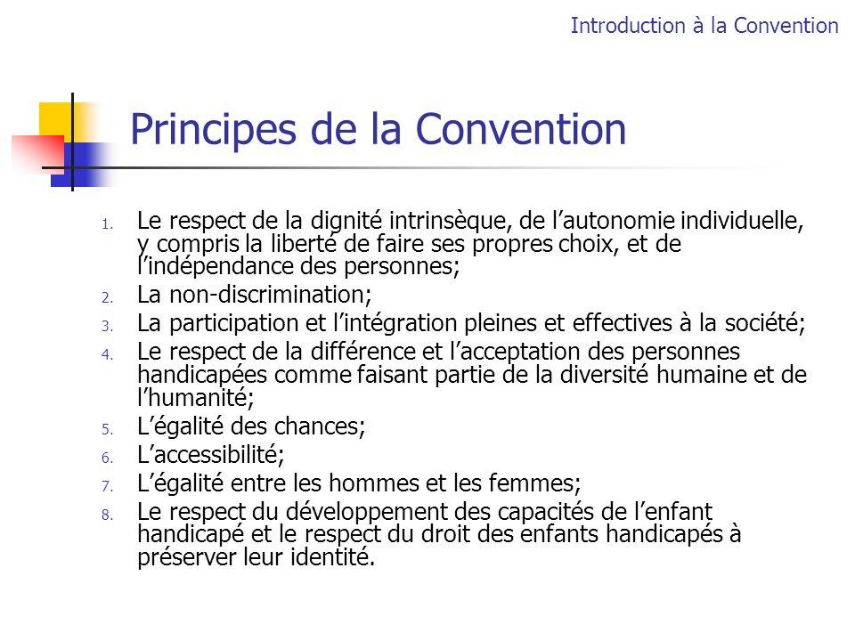 Principes de la Convention 1. Le respect de la dignité intrinsèque, de lautonomie individuelle, y compris la liberté de faire ses propres choix, et de