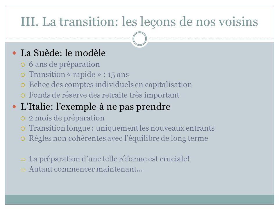 III. La transition: les leçons de nos voisins La Suède: le modèle 6 ans de préparation Transition « rapide » : 15 ans Echec des comptes individuels en