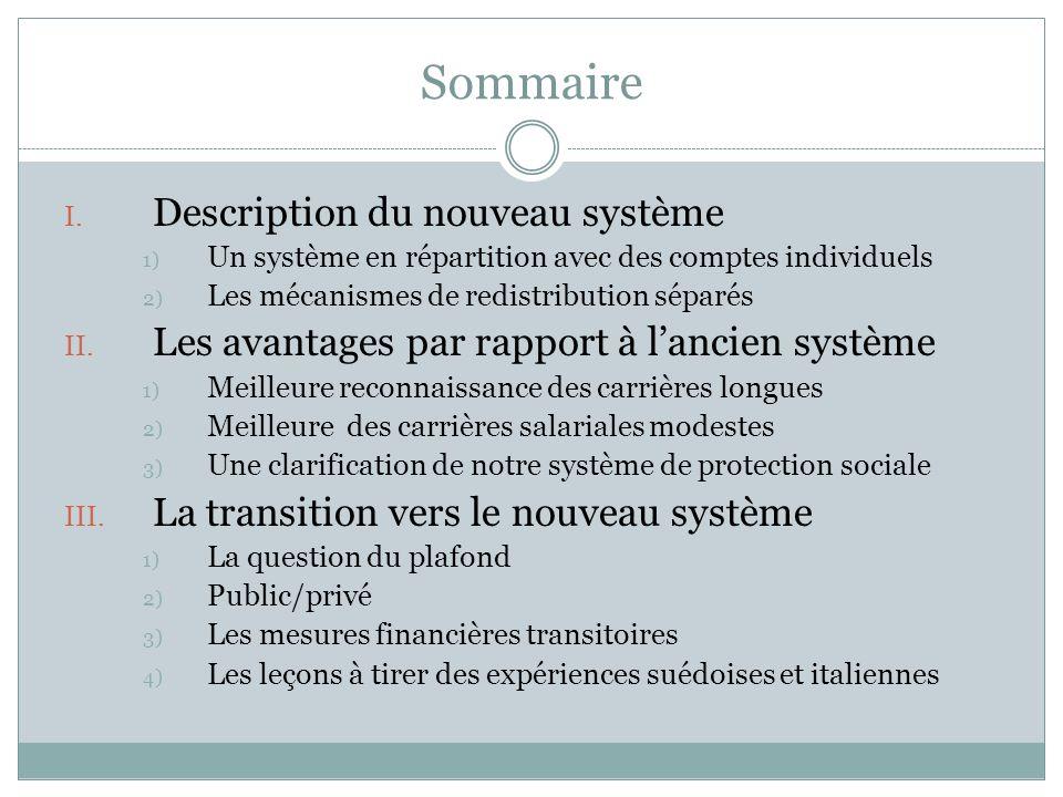 Sommaire I. Description du nouveau système 1) Un système en répartition avec des comptes individuels 2) Les mécanismes de redistribution séparés II. L