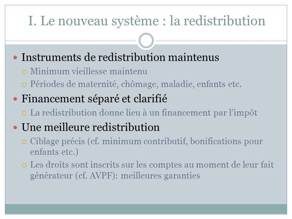 I. Le nouveau système : la redistribution Instruments de redistribution maintenus Minimum vieillesse maintenu Périodes de maternité, chômage, maladie,