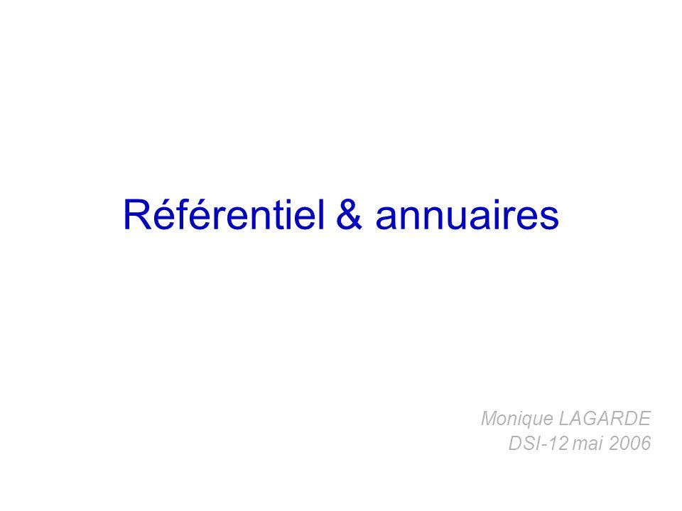 Référentiel & annuaires Monique LAGARDE DSI-12 mai 2006