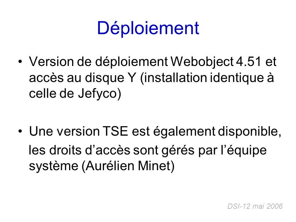 Déploiement Version de déploiement Webobject 4.51 et accès au disque Y (installation identique à celle de Jefyco) Une version TSE est également dispon