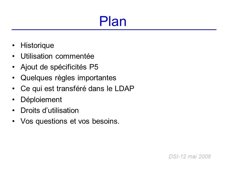 Plan Historique Utilisation commentée Ajout de spécificités P5 Quelques règles importantes Ce qui est transféré dans le LDAP Déploiement Droits dutili
