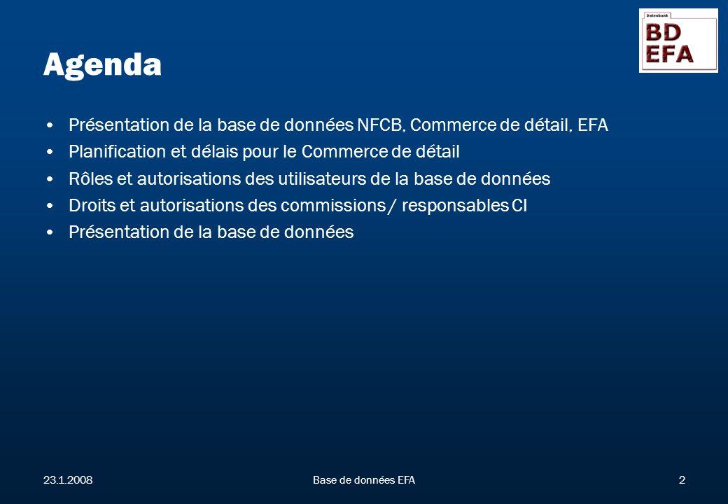 23.1.2008Base de données EFA2 Agenda Présentation de la base de données NFCB, Commerce de détail, EFA Planification et délais pour le Commerce de détail Rôles et autorisations des utilisateurs de la base de données Droits et autorisations des commissions / responsables CI Présentation de la base de données