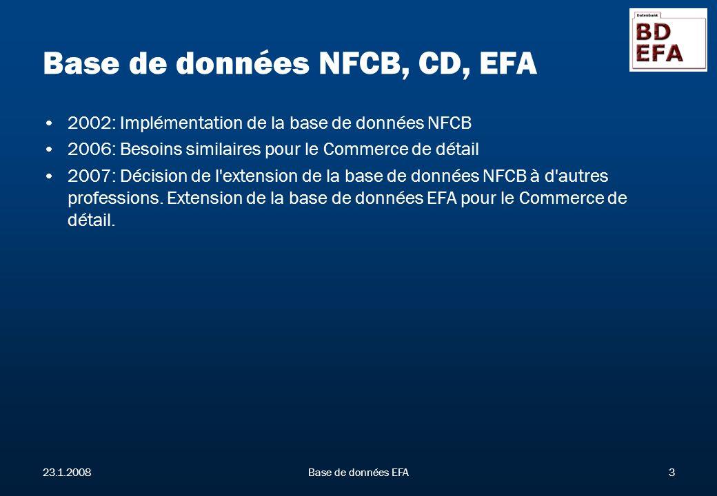 23.1.2008Base de données EFA3 Base de données NFCB, CD, EFA 2002: Implémentation de la base de données NFCB 2006: Besoins similaires pour le Commerce de détail 2007: Décision de l extension de la base de données NFCB à d autres professions.