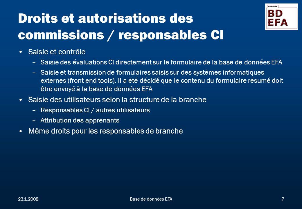 23.1.2008Base de données EFA7 Droits et autorisations des commissions / responsables CI Saisie et contrôle –Saisie des évaluations CI directement sur