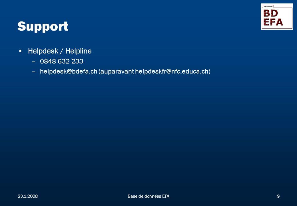 23.1.2008Base de données EFA9 Support Helpdesk / Helpline –0848 632 233 –helpdesk@bdefa.ch (auparavant helpdeskfr@nfc.educa.ch)