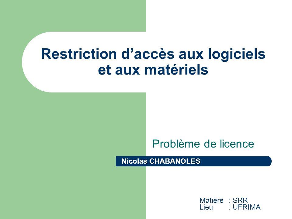 Restriction daccès aux logiciels et aux matériels Problème de licence Nicolas CHABANOLES Matière : SRR Lieu: UFRIMA