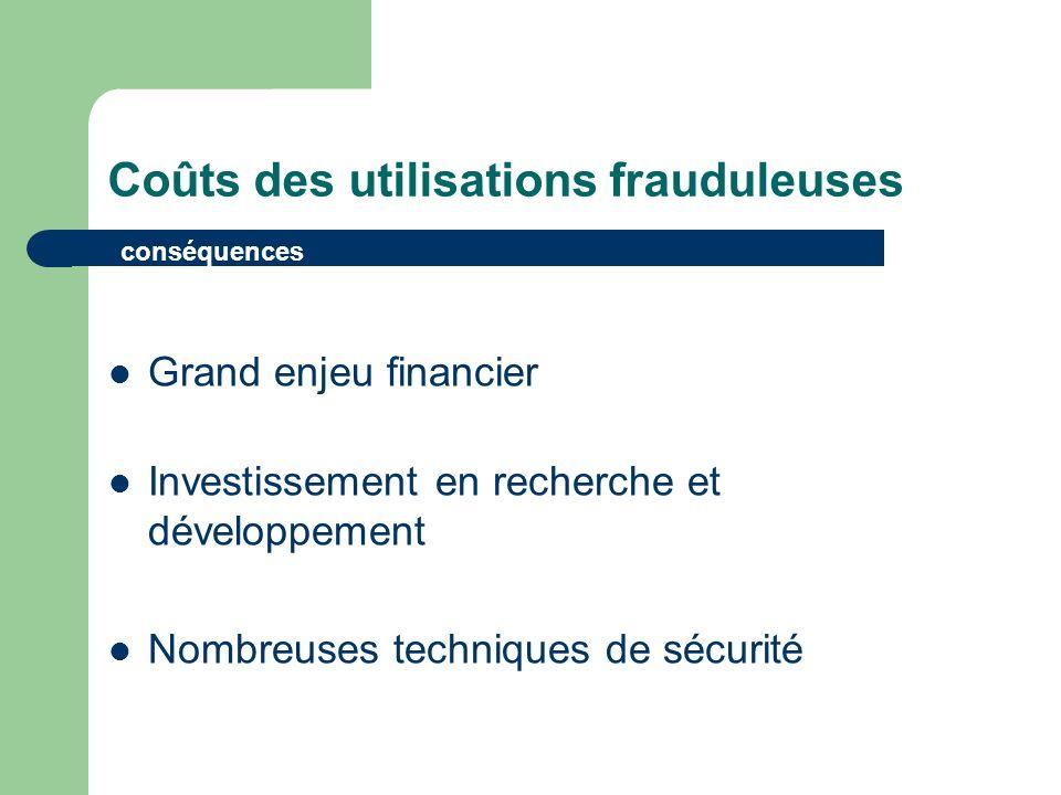 Coûts des utilisations frauduleuses Grand enjeu financier Investissement en recherche et développement Nombreuses techniques de sécurité conséquences