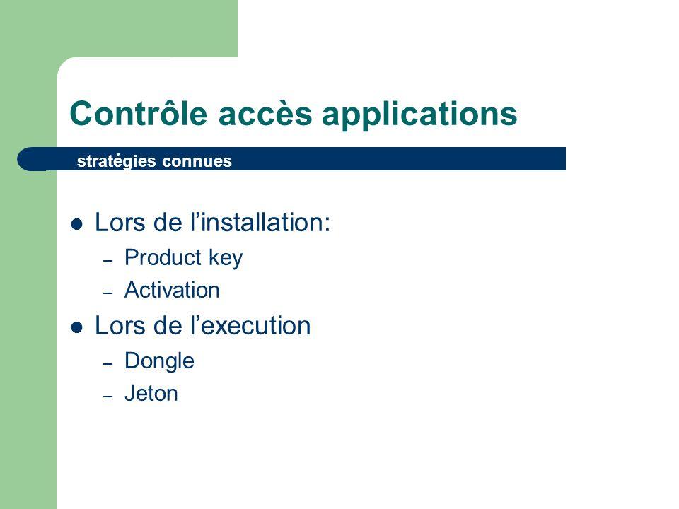 Contrôle accès applications Lors de linstallation: – Product key – Activation Lors de lexecution – Dongle – Jeton stratégies connues