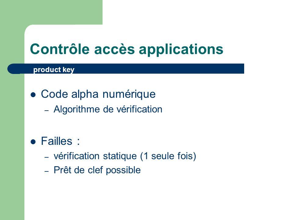 Contrôle accès applications Code alpha numérique – Algorithme de vérification Failles : – vérification statique (1 seule fois) – Prêt de clef possible product key