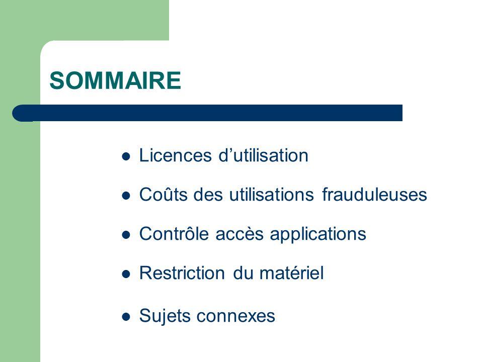 SOMMAIRE Licences dutilisation Coûts des utilisations frauduleuses Contrôle accès applications Restriction du matériel Sujets connexes