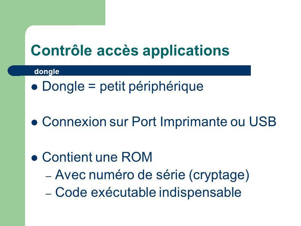Contrôle accès applications Dongle = petit périphérique Connexion sur Port Imprimante ou USB Contient une ROM – Avec numéro de série (cryptage) – Code exécutable indispensable dongle