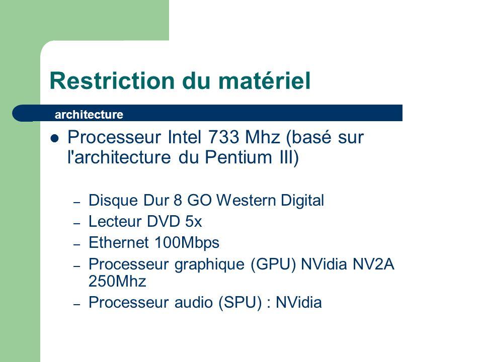 Restriction du matériel Processeur Intel 733 Mhz (basé sur l architecture du Pentium III) – Disque Dur 8 GO Western Digital – Lecteur DVD 5x – Ethernet 100Mbps – Processeur graphique (GPU) NVidia NV2A 250Mhz – Processeur audio (SPU) : NVidia architecture