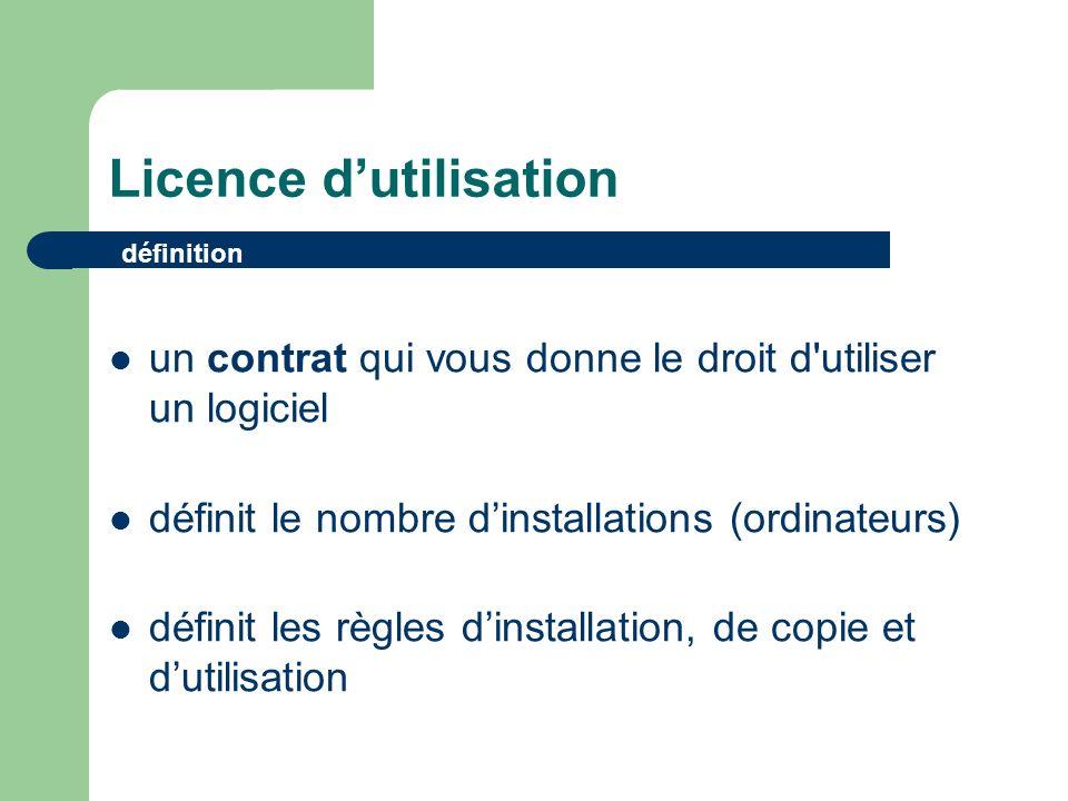 Licence dutilisation définition un contrat qui vous donne le droit d utiliser un logiciel définit le nombre dinstallations (ordinateurs) définit les règles dinstallation, de copie et dutilisation