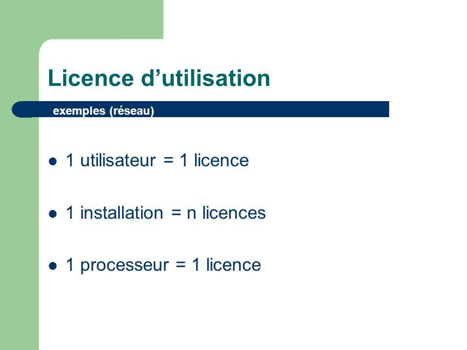Licence dutilisation Licence par poste Toute machine possédant une licence peut utiliser lapplication