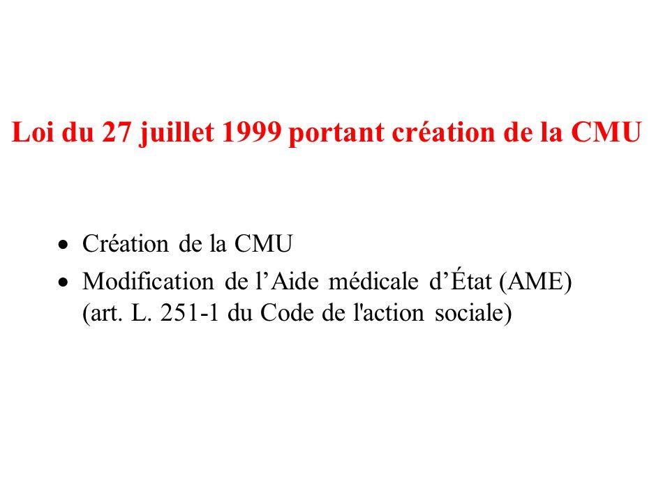 Loi du 27 juillet 1999 portant création de la CMU Création de la CMU Modification de lAide médicale dÉtat (AME) (art. L. 251-1 du Code de l'action soc