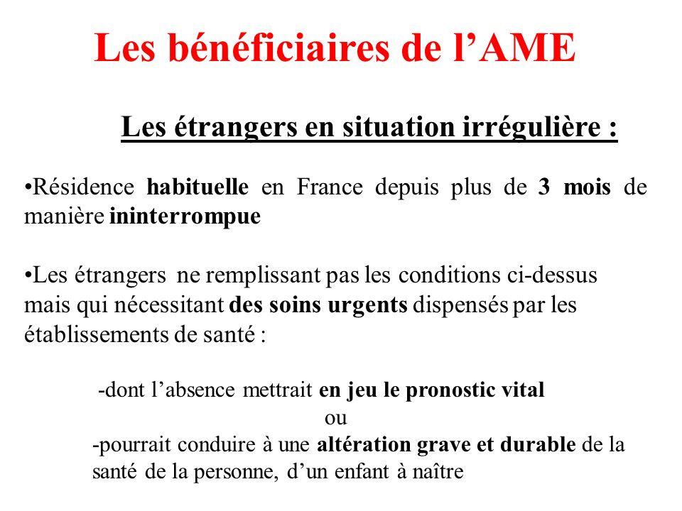 Les bénéficiaires de lAME Les étrangers en situation irrégulière : Résidence habituelle en France depuis plus de 3 mois de manière ininterrompue Les é