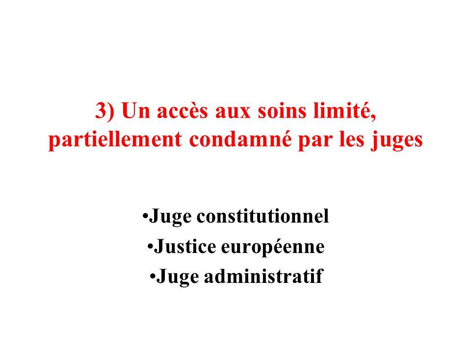 3) Un accès aux soins limité, partiellement condamné par les juges Juge constitutionnel Justice européenne Juge administratif
