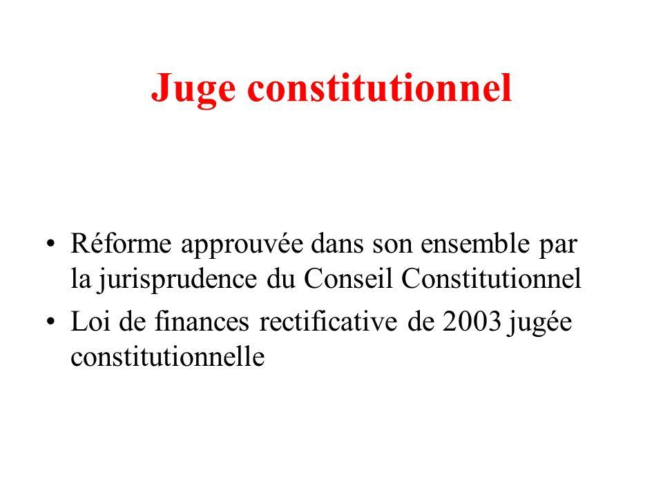 Juge constitutionnel Réforme approuvée dans son ensemble par la jurisprudence du Conseil Constitutionnel Loi de finances rectificative de 2003 jugée c
