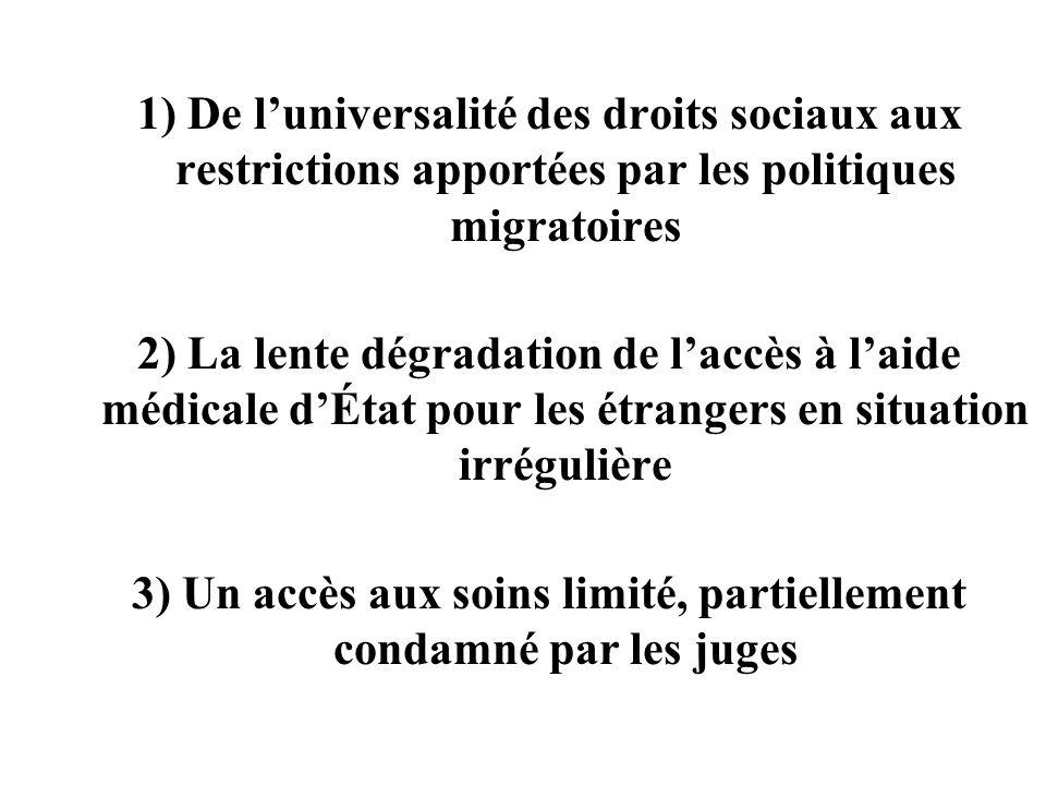 1) De luniversalité des droits sociaux aux restrictions apportées par les politiques migratoires 2) La lente dégradation de laccès à laide médicale dÉ