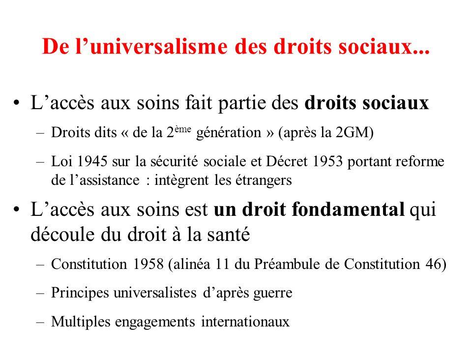 De luniversalisme des droits sociaux... Laccès aux soins fait partie des droits sociaux –Droits dits « de la 2 ème génération » (après la 2GM) –Loi 19
