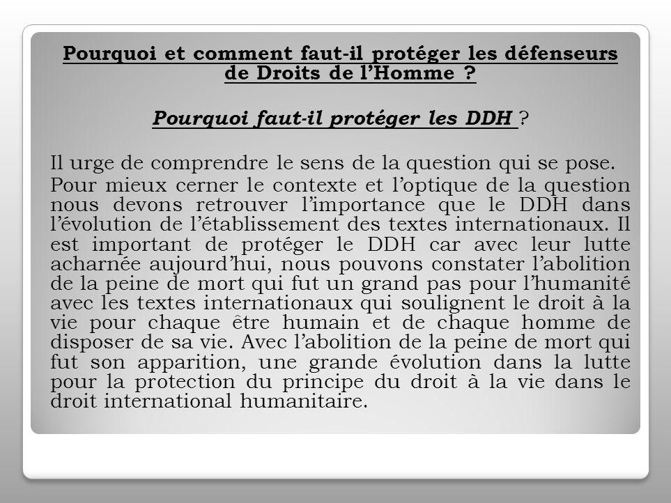Définition Définir le Défenseur des droits de lhomme, de façon plus explicite nous renvoie à comprendre que les DDH œuvrent pour la promotion et la protection des droits fondamentaux de tous les individus.