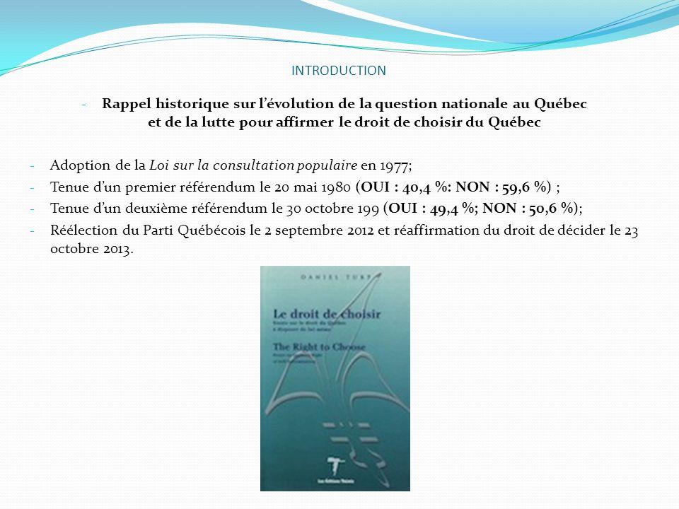 INTRODUCTION - Rappel historique sur lévolution de la question nationale au Québec et de la lutte pour affirmer le droit de choisir du Québec - Adopti