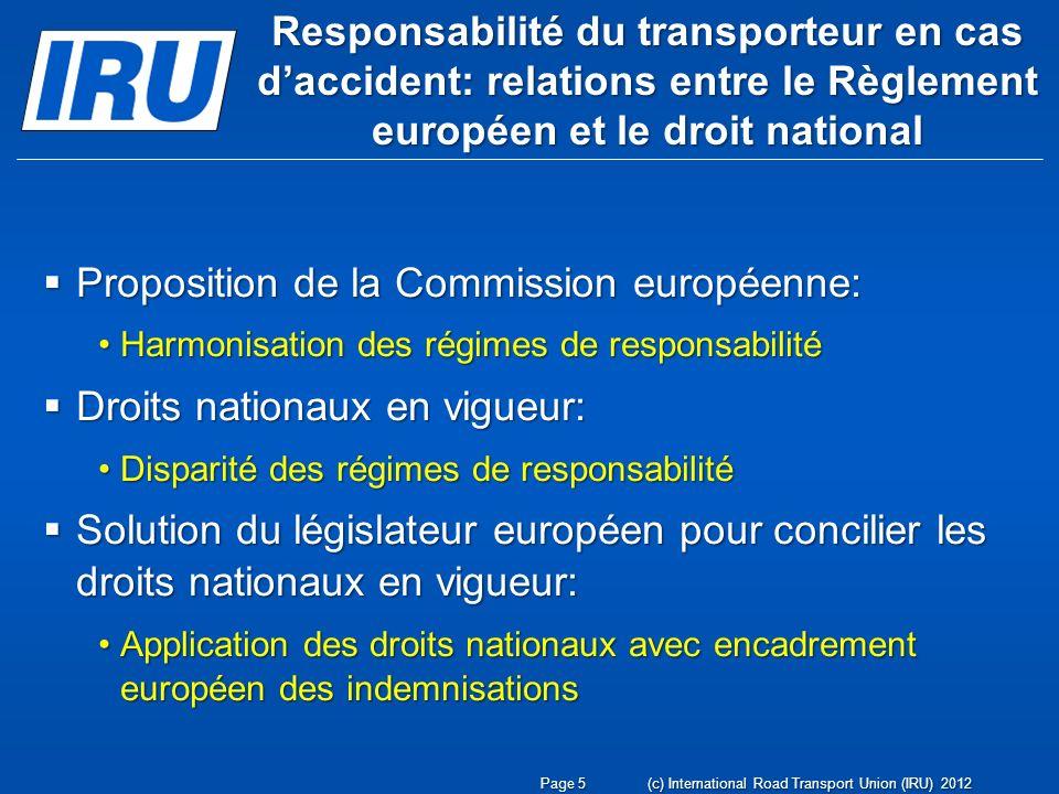 Responsabilité du transporteur en cas daccident: relations entre le Règlement européen et le droit national Proposition de la Commission européenne: P