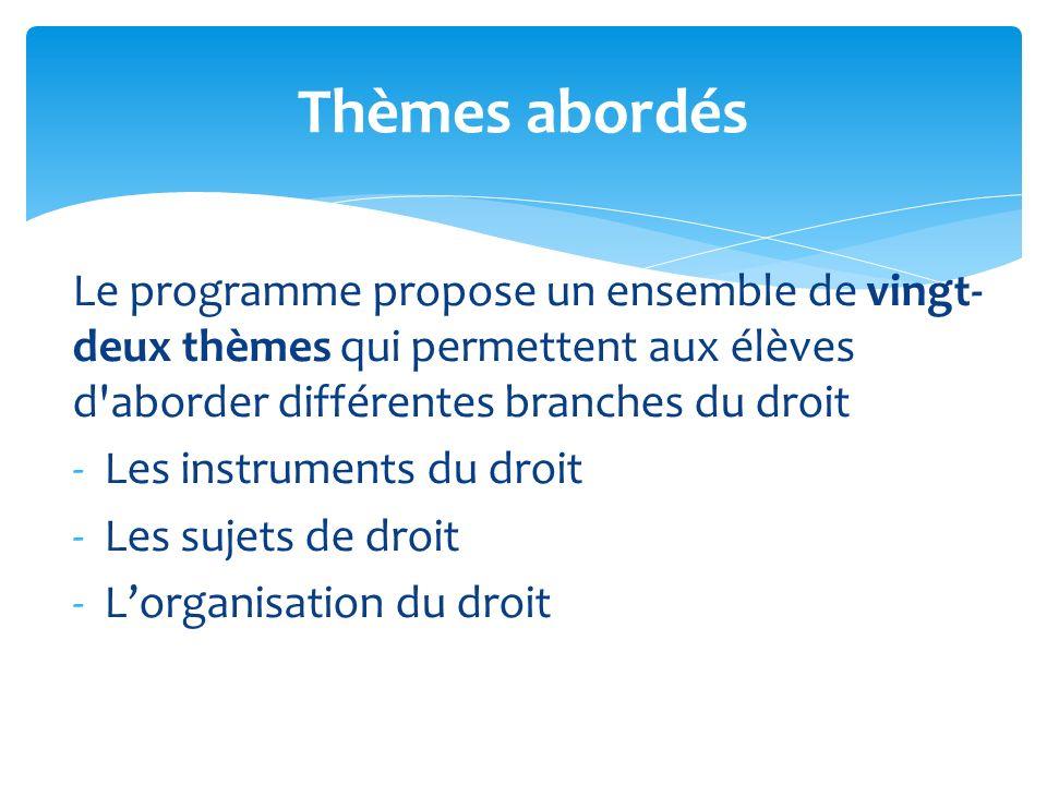 Le programme propose un ensemble de vingt- deux thèmes qui permettent aux élèves d'aborder différentes branches du droit -Les instruments du droit -Le