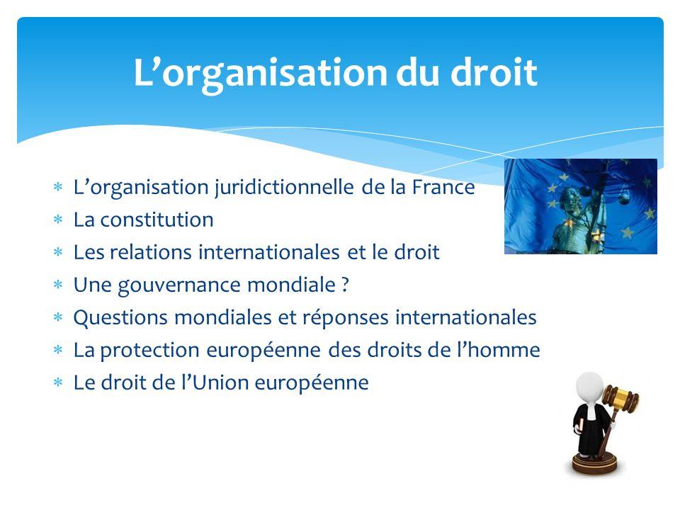 Lorganisation du droit Lorganisation juridictionnelle de la France La constitution Les relations internationales et le droit Une gouvernance mondiale