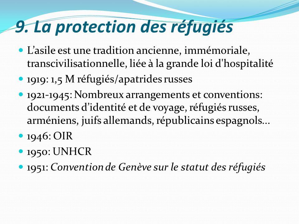 9. La protection des réfugiés Lasile est une tradition ancienne, immémoriale, transcivilisationnelle, liée à la grande loi d'hospitalité 1919: 1,5 M r