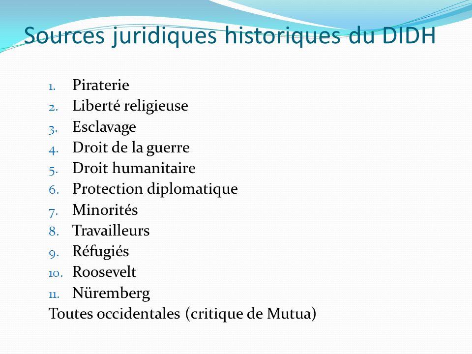 Sources juridiques historiques du DIDH 1. Piraterie 2.