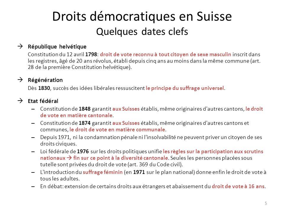 Droits démocratiques en Suisse Quelques dates clefs République helvétique Constitution du 12 avril 1798: droit de vote reconnu à tout citoyen de sexe masculin inscrit dans les registres, âgé de 20 ans révolus, établi depuis cinq ans au moins dans la même commune (art.