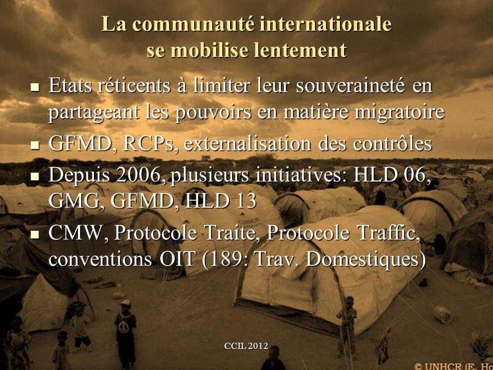 La communauté internationale se mobilise lentement Etats réticents à limiter leur souveraineté en partageant les pouvoirs en matière migratoire Etats réticents à limiter leur souveraineté en partageant les pouvoirs en matière migratoire GFMD, RCPs, externalisation des contrôles GFMD, RCPs, externalisation des contrôles Depuis 2006, plusieurs initiatives: HLD 06, GMG, GFMD, HLD 13 Depuis 2006, plusieurs initiatives: HLD 06, GMG, GFMD, HLD 13 CMW, Protocole Traite, Protocole Traffic, conventions OIT (189: Trav.