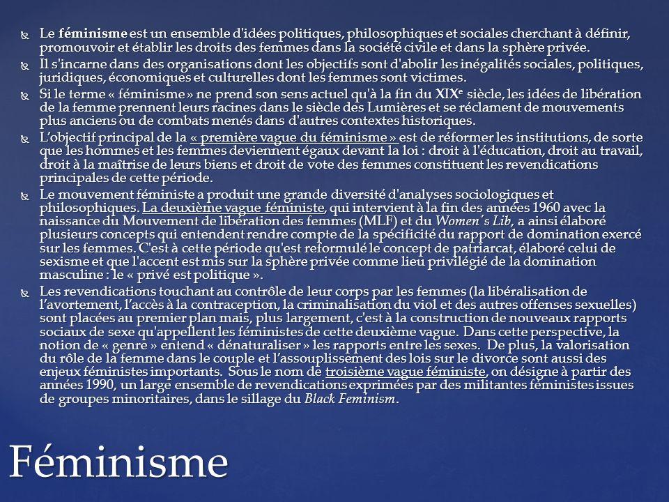 Le féminisme est un ensemble d'idées politiques, philosophiques et sociales cherchant à définir, promouvoir et établir les droits des femmes dans la s