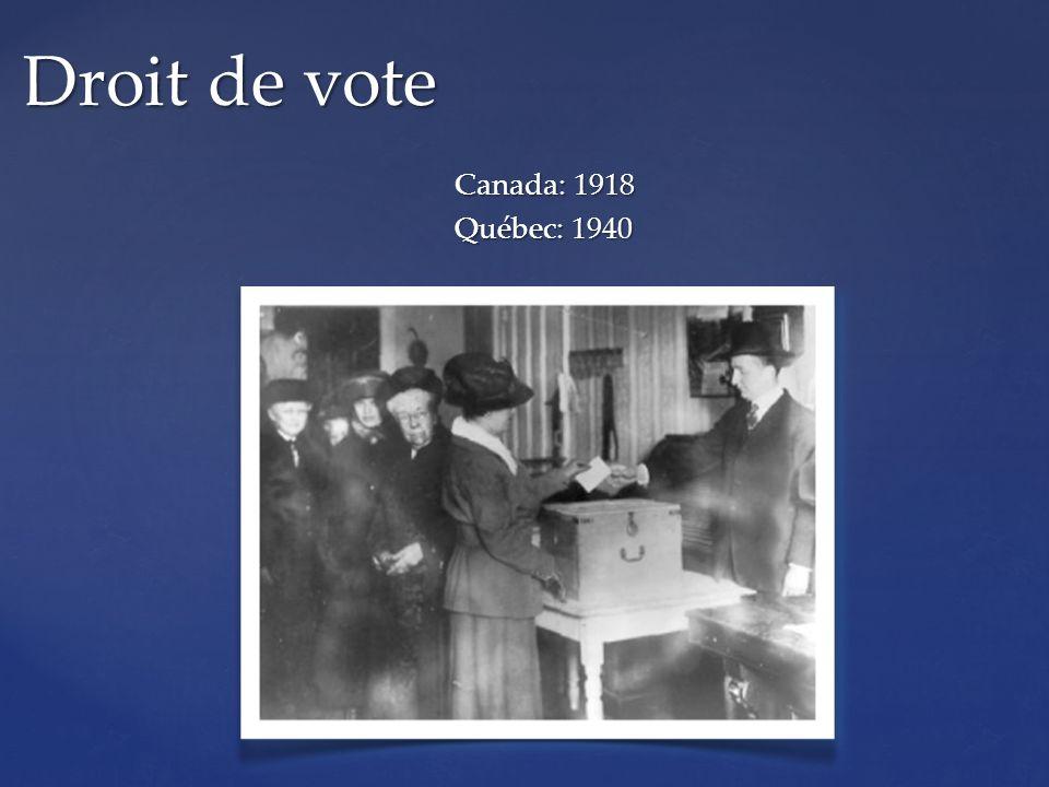 Canada: 1918 Québec: 1940 Droit de vote