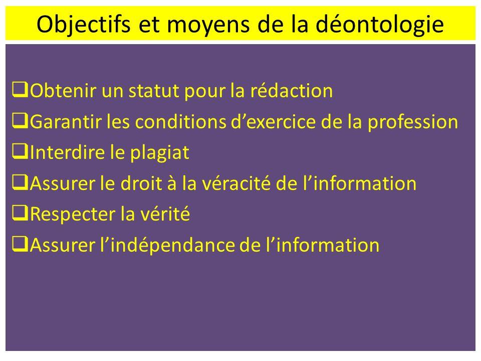 Objectifs et moyens de la déontologie Obtenir un statut pour la rédaction Garantir les conditions dexercice de la profession Interdire le plagiat Assu