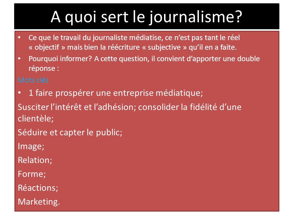 A quoi sert le journalisme? Ce que le travail du journaliste médiatise, ce nest pas tant le réel « objectif » mais bien la réécriture « subjective » q