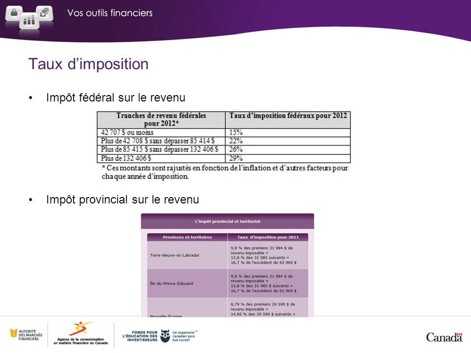 Taux dimposition Impôt fédéral sur le revenu Impôt provincial sur le revenu