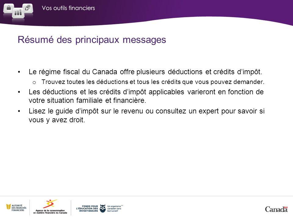 Résumé des principaux messages Le régime fiscal du Canada offre plusieurs déductions et crédits dimpôt.