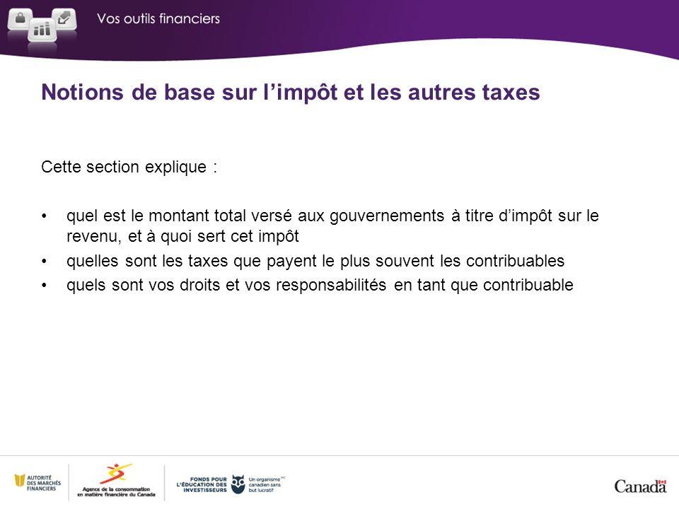 Cette section explique : quel est le montant total versé aux gouvernements à titre dimpôt sur le revenu, et à quoi sert cet impôt quelles sont les taxes que payent le plus souvent les contribuables quels sont vos droits et vos responsabilités en tant que contribuable