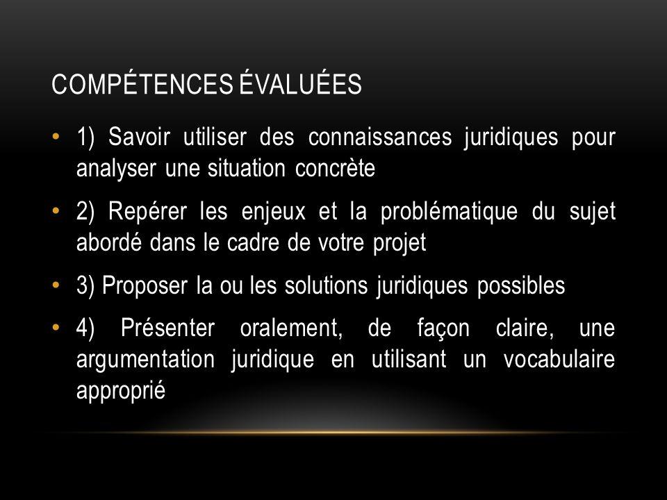 COMPÉTENCES ÉVALUÉES 1) Savoir utiliser des connaissances juridiques pour analyser une situation concrète 2) Repérer les enjeux et la problématique du