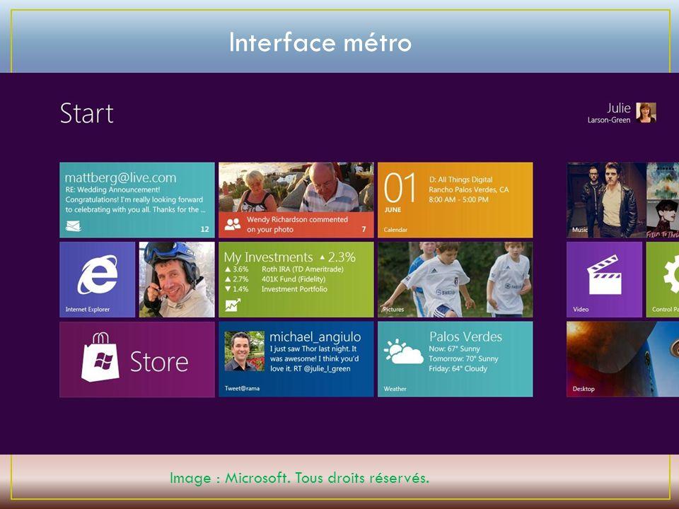 Image : Microsoft. Tous droits réservés. Interface métro